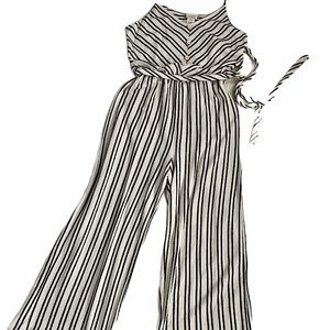 Caution To The Wind Striped Button Front Jumpsuit